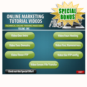 Special Bonuses - July 2015 - Online Marketing Training Videos Volume 1 Pack