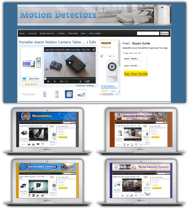 "Azon Home Security Niche Profits Features - 5 ""Amazon Affiliate and General Affiliate"" Optimized WordPress Niche Affiliate Sites"