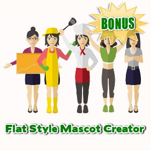 Female Mascot Maker Bonuses  - Flat Style Mascot Creator