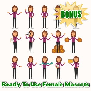 Female Mascot Maker Bonuses  - Ready To Use Female Mascots
