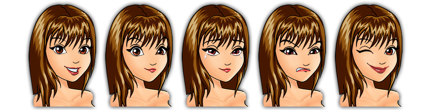 Female Mascot Maker Features - Choose From Our Range Of Facial Expressions