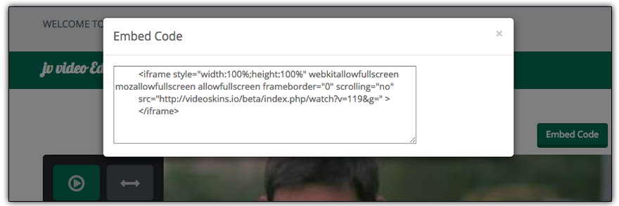 Video Skins Features - Produces A Simple Embed Code