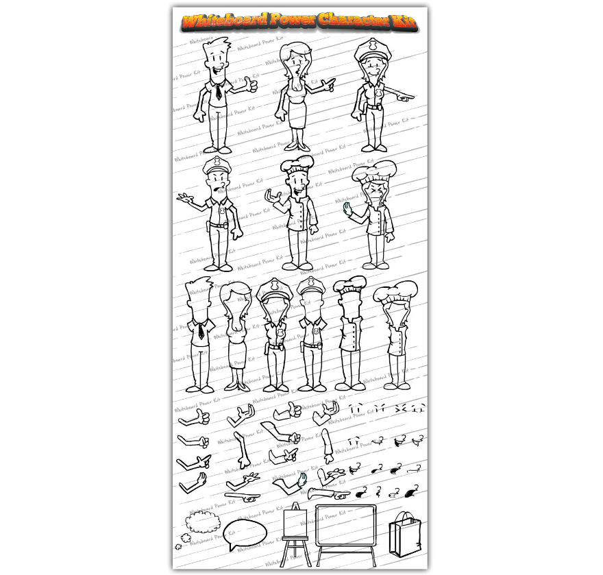 Whiteboard Power Kit Features - Whiteboard Power Character Kit