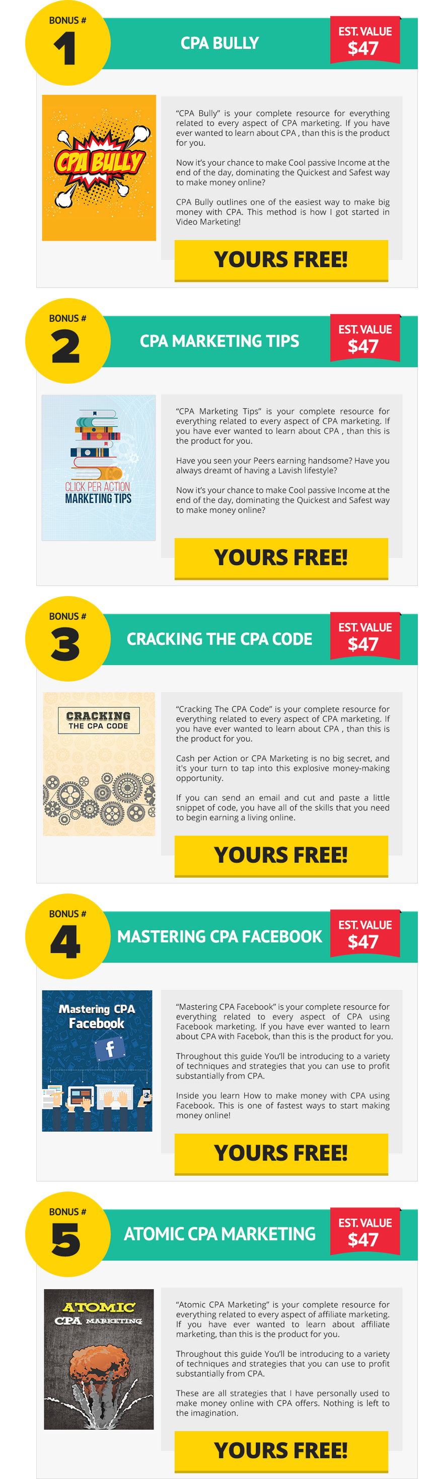 CPA Marketing Excellence PLR Bonuses