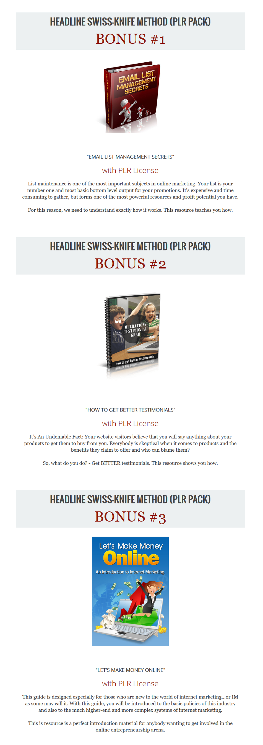Headline Swiss-Knife Method PLR Bonuses