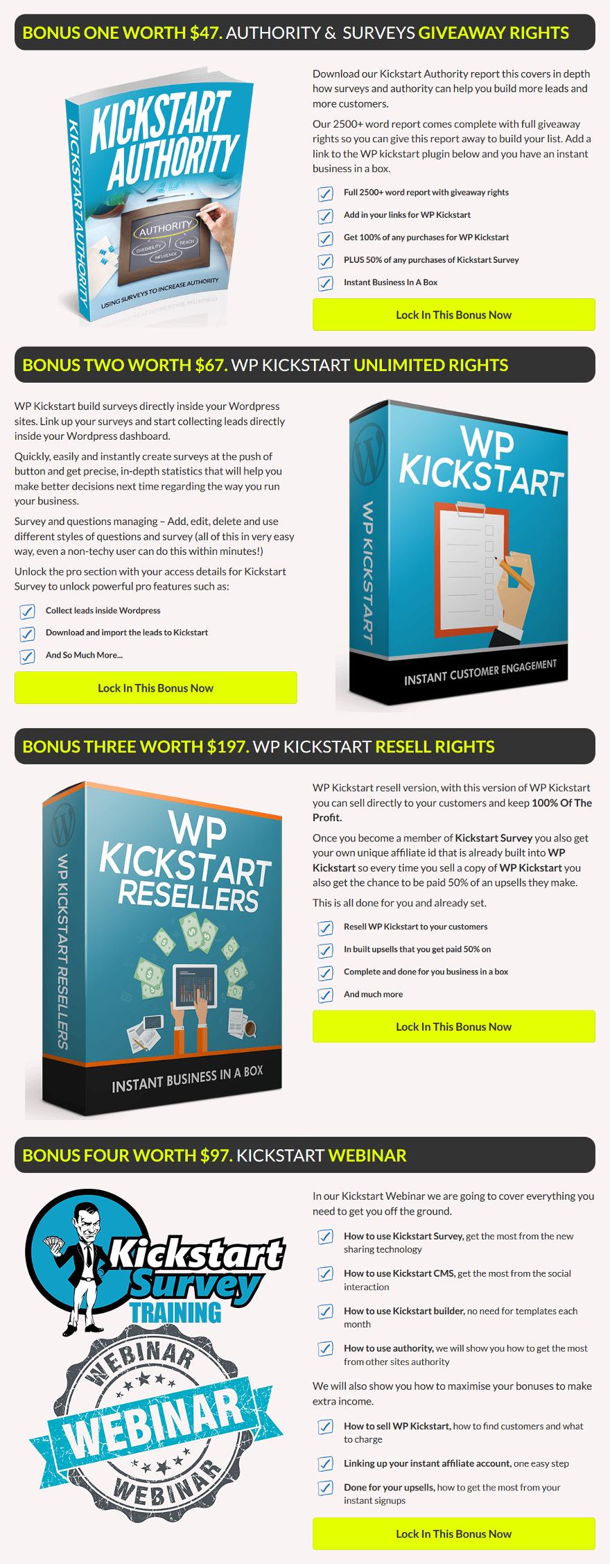 Kickstart Survey Bonuses