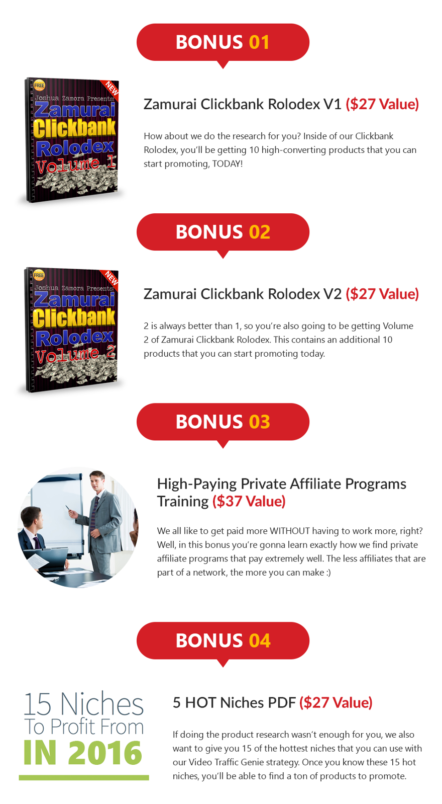 Video Traffic Genie Bonuses