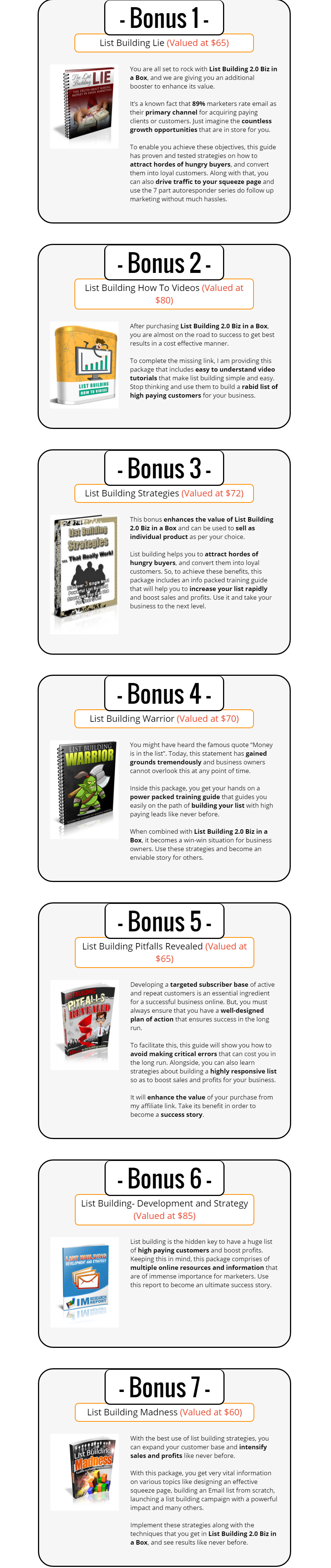 List Building V2 Biz in a Box Monster PLR Bonuses