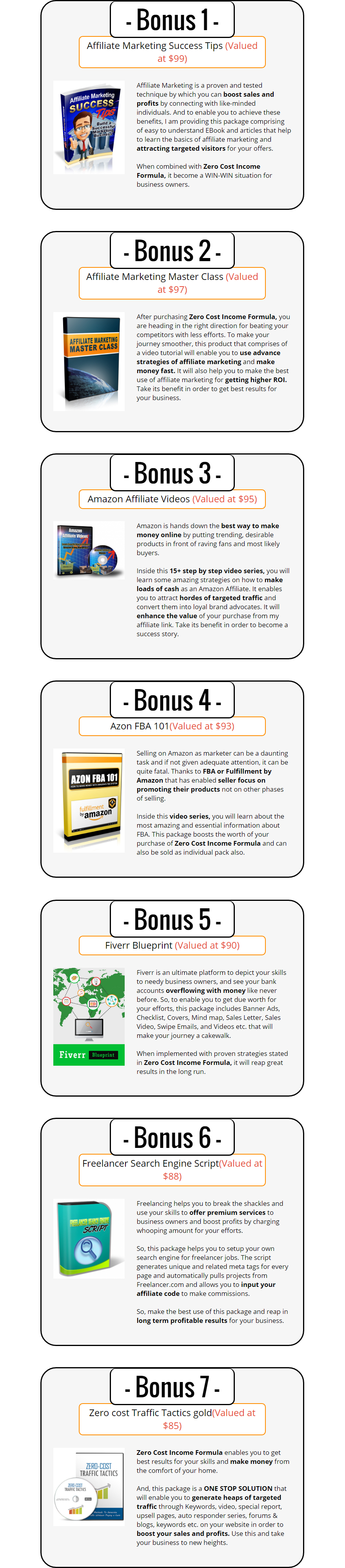 Zero Cost Income Formula Bonuses