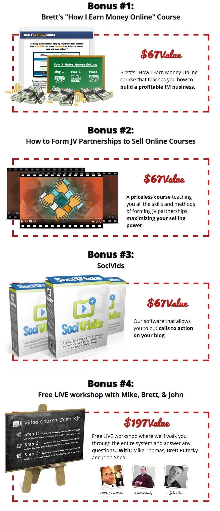 Video Course Cash Kit Bonuses