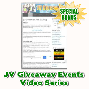 Special Bonuses - July 2016 - JV Giveaway Events Video Series
