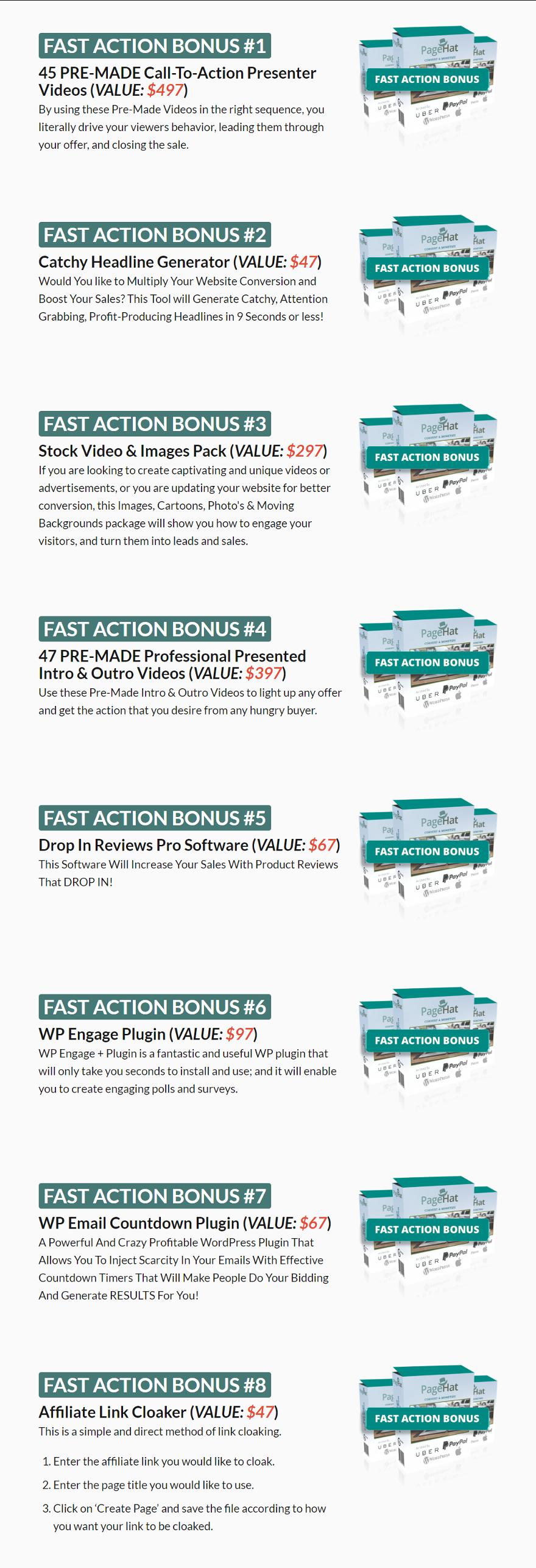 PageHat Bonuses