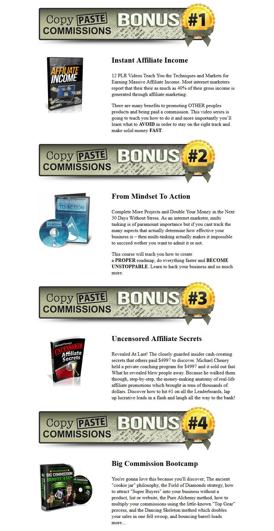 Copy Paste Commissions Bonuses
