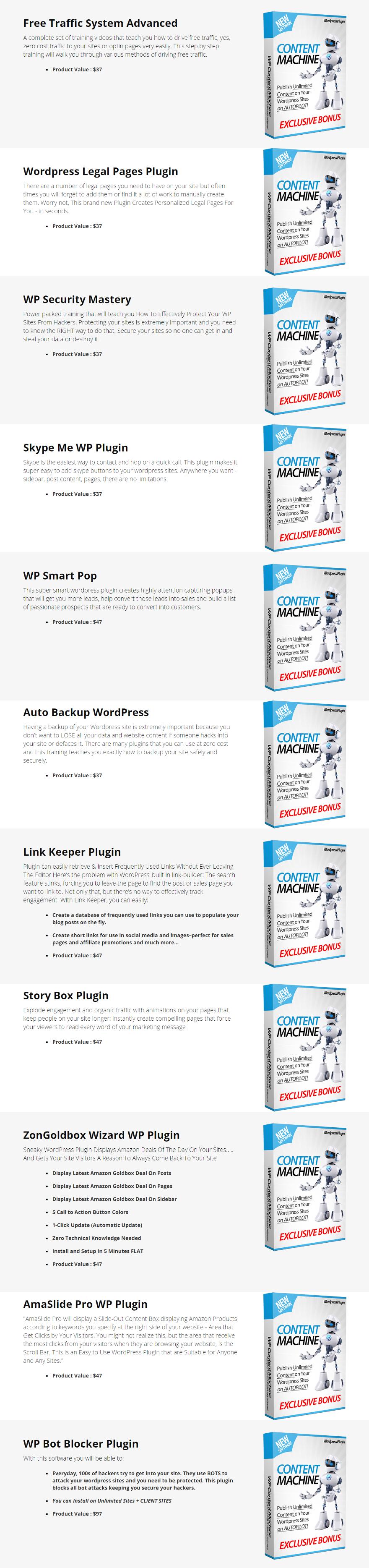 WP Content Machine Bonuses