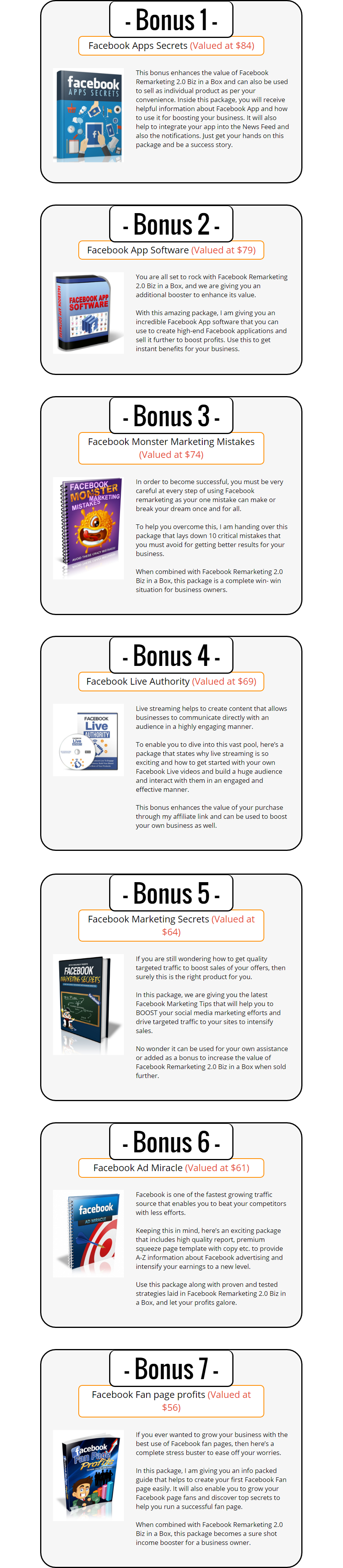 FB Re-marketing V2 Biz in a Box Bonuses