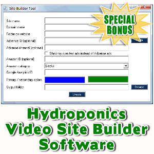 Special Bonuses - November 2016 - Hydroponics Video Site Builder Software