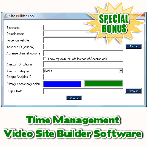 Special Bonuses - March 2017 - Time Management Video Site Builder Software