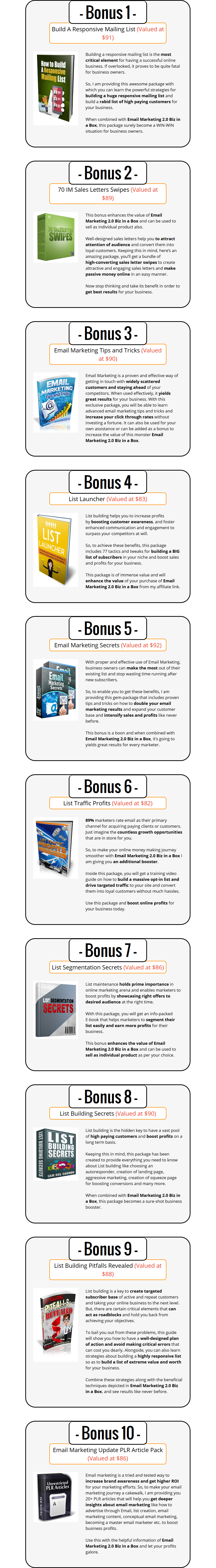 Email Marketing V2 Biz In A Box PLR Bonuses