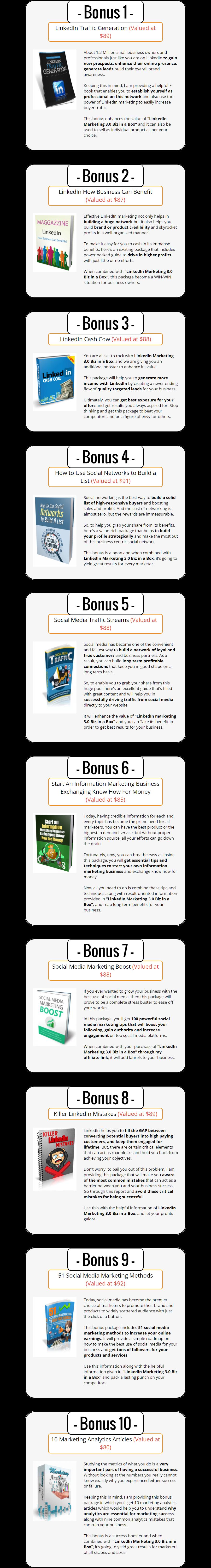 LinkedIn Marketing V3 Biz in a Box Monster PLR Bonuses