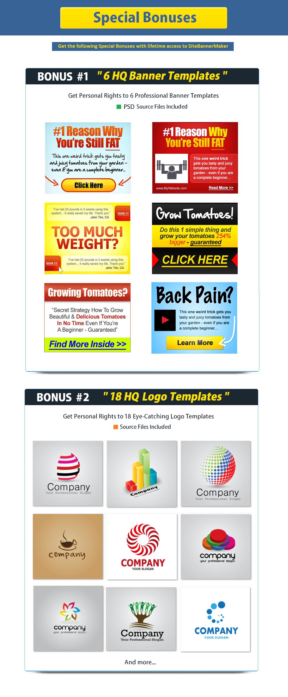Site Banner Maker Bonuses